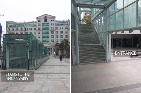 Finding the entrance of the Haengwon Park Cafeteria