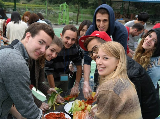 Students preparing Kimchi together