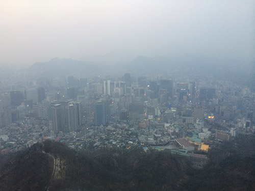 The view from Namsan Tower (unfortunately on a  foggy day)