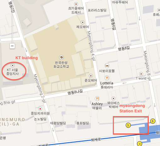 Map to Myeongdong EG store