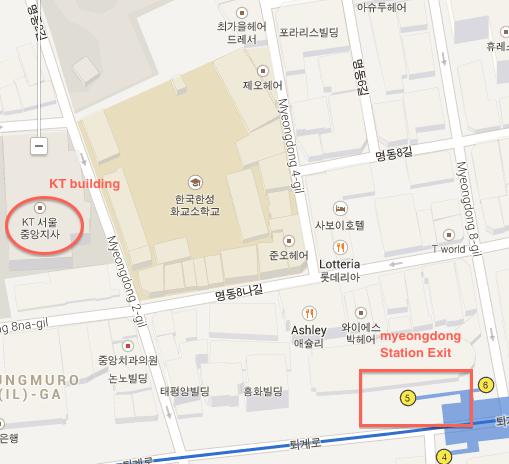 Map to Myeongdong EG store